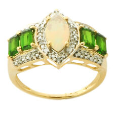Ethiopian Opal Chrome Diopside Diamond Ring In 9kt Solid Yellow Gold Jewelry