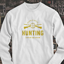 DUCK AND DEER HUNTING OPEN SEASON HUNT GUN TARGET Mens White Long Sleeve T-Shirt