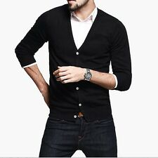 Winter Mens Kintted Sweater V neck Long Sleeve Cardigan Cotton Solid M L XL XXL