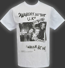 MENS WHITE T-SHIRT SEX PISTOLS ANARCHY IN THE UK I WANNA BE ME BANNED PUNK S-5XL