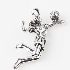 5/10Pcs Tibet Silver Charms Volleyball Girl Pendants 31*15MM Jewelry Makings DIY