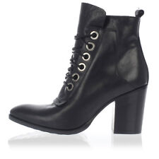 STRATEGIa New Woman Black Leather heel Boots Shoes Made in Italy NWT