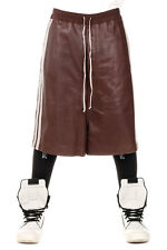 RICK OWENS New Men Blood Leather Bermuda Shorts BIG SHORTS Drawstring
