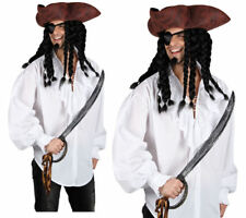 White Pirate Shirt Mens Pirates Fancy Dress Costume Accessory S-XL