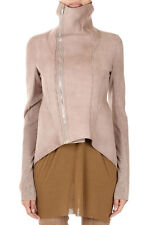 RICK OWENS LILIES Women Pink Leather NASKA BIKER Jacket Italy Made