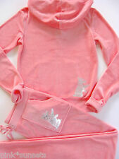 Juicy Couture Velour Silver Scotty Pink Tracksuit Hoodie Pocket Pants Track