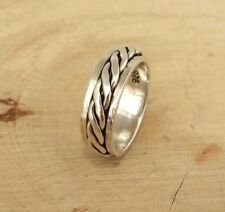 Mens Womens Plain 925 Sterling Silver Celtic Twist Spinning Thumb Band Ring 6mm