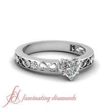 .50 Ct Heart Shaped Diamond Solitaire Hand Engraved Engagement Ring 14K VS2 GIA