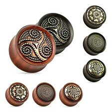 Flesh Tunnel Plug Organic Wood Saddle Fit Ear Piercing Double Flared Ear Tube