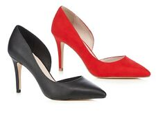 Faith Womens Pointed 3.5 Inch Stiletto High Heels Court Shoes Red Black