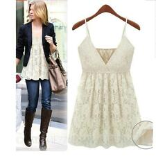 Casual womens ladies Summer Floral V Neck Camisole sexy lace Crochet Top Size