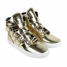 Radii Straight Jacket Mens Gold Patent Leather Lace Up Sneakers Shoes