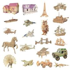 3D Puzzles Wooden Toy DIY Modelling Kit Kids Jigsaw Set House Animal Plane Car
