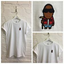 Actual Fact Biggie Cartoon Embroidered Hip Hop Supreme White Tee T-Shirt