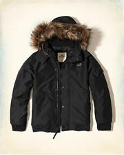 NWT Hollister by Abercrombie&Fitch Men's Fur Hood Bomber Jacket Quilted Coat