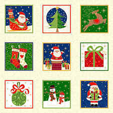 Novelty Christmas Quilt Fabric by Makower UK  Santa Presents OOP Premium Cotton