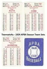 1924 APBA Season Baseball Team Sets ** Pick Your Team Set **