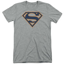 Superman Navy & Orange Shield Mens Tri-Blend Shirt ATHLETIC HEATHER
