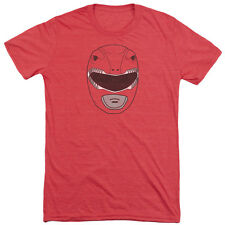 Power Rangers Red Ranger Mask Mens Tri-Blend Short Sleeve Shirt RED