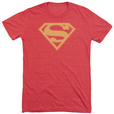 Superman Red & Gold Shield Mens Tri-Blend Short Sleeve Shirt RED
