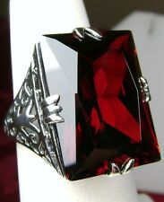 30ct Big Red Garnet Zirconia Solid Sterling Silver Filigree Ring Size: Any/MTO