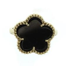 Sterling Silver Enamel Black Flower Ring *C006