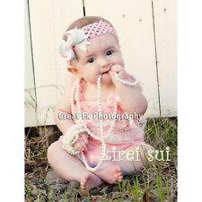 Xmas Baby Girls Light Pink White Lace Petti Rompers Romper Straps Bow NB-3T RS67