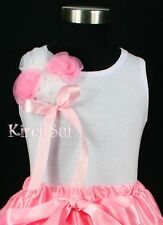 White Pettitop Tank Top Bunch White Pink Rosettes for Pettiskirt 3M-10Y DN76