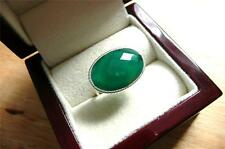 FAB STYLISH OVAL GREEN ONYX 925 STERLING SILVER CHEQUERBOARD CUT RING Sz R US 9