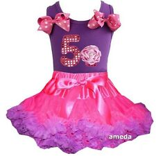 Hot Pink Purple Pettiskirt & 5th Birthday Cupcake Tank Top Dress Outfit
