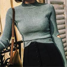 Casual Sexy Women Knit Sweater  T-shirt Blouse Long Sleeve Turtleneck Slim Tops