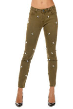 PINKO TAG New Woman green Stretch Cotton Details Pants Jeans Made in Italy