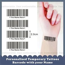 12 x Personalised Custom Temporary Tattoos Stickers Bar Code Your Name Number