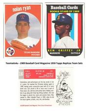 1989 Baseball Card Magazine 1959 Topps Replicas Set ** Pick Your Team **