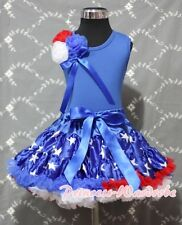 July 4th Blue Patriotic Star Pettiskirt with Bunch Rosettes Blue Pettitop 1-8Y