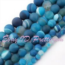 "Natural Agate Round Stripe Blue Frost Gemstone Beads Strand 15"" 6,8,10,12,14mm"