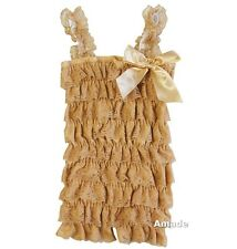 Baby Toasted Almond Gold Lace Petti Rompers NB-3Y