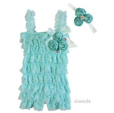 Baby Mint Satin Rosettes Aqua Blue Lace Petti Rompers Headband 2pcs Set