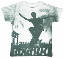 Boys Venice Beach Skateboard Palm Tree Crew Neck T-Shirt Top 6 to 14 Years