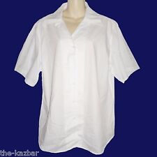 size 22 white shirt short sleeve Glo Weave ladies work top quality relaxed fit