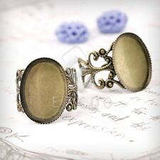 5/6pcs Flat Oval/Bow Tie Ring Mountings Engagement Settings Crafts Antique