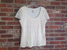 Lucky Brand, Ivory,Front Crochet/W/Lining ,Crochet Cap Sleeve Scoop Neck Top XL