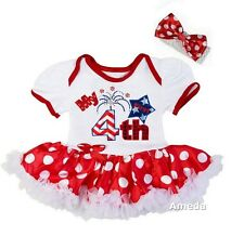 Baby First 4th of July Fireworks White Red Polka Dots Bodysuit Tutu and Headband