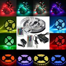 5M SMD 3528 5050 White RGB Flexible LED Strip Lights 12V Power Supply IR Remote