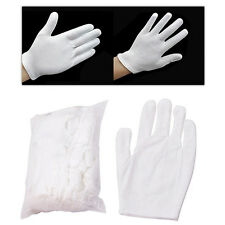 12 Pairs White Inspection Cotton Work Gloves Coin Jewelry Lightweight New Charm