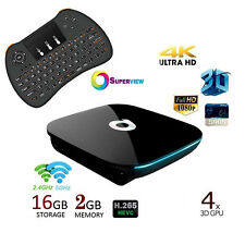 Fully Loaded QBOX Quad-Core 2GB/16GB Bluetooth Android TV Box+Backlit Keyboard