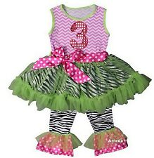 Girls 3rd Birthday Chevron Pink Lime Zebra Ruffled Top Pants Set Outfit