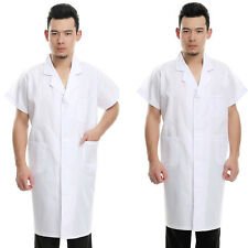 New Mens Womens White Lab Coat Scrub Medical Doctor's Jacket Short Sleeve