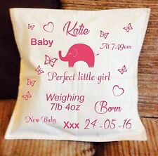 Personalised Cushion Cover Homemade and personalised New Baby Girl or Boy