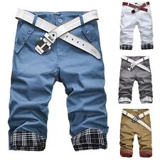 New Fashion Mens Summer Casual Trousers Pure Color Casual Straight Capri Pants